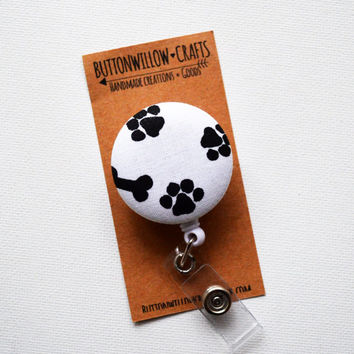 Fabric Button ID Badge Reel, Retractable Lanyard, Nurses, Birthday Gift, Key Card, Handmade Pretty Badge Reel, Paws, Veterinarians, Bones