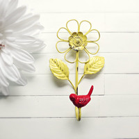 Metal Flower Wall Decor / Metal Hook / Garden Decor / Flower Decoration / Bird Home Decor / Bird Hook / Yellow / Red / Spring Decor