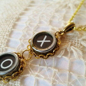 X and O Typewriter Key Necklace, Antique Typewriter Jewelry, Black and Gold, Gold Plated Chain, Hugs and Kisses Necklace, Gold Love Necklace