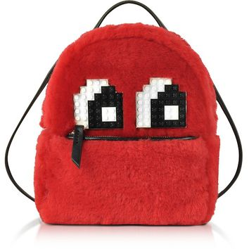 Les Petits Joueurs Red Merino Wool and Leather Baby Mick Eyes Backpack