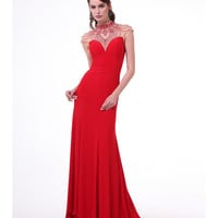 Red Intricate Neck Formal Jersey Gown 2015 Prom Dresses