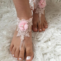 Flower Girl Barefoot Sandals, Pink ace sandals, 3D Flowers Kids Shoes, Beach wedding, Bridesmaid sandals, Girls Barefoot sandals