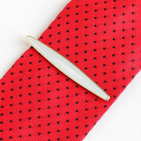 Vintage Gold Washed Sterling Silver White Guilloche Enamel Tie Bar - Men's Signed DA David Andersen Tie Clasp Clip Norway Jewelry Accessory