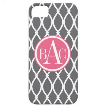 Dark Gray Monogrammed Barcelona Print iPhone 5 Case from Zazzle.com