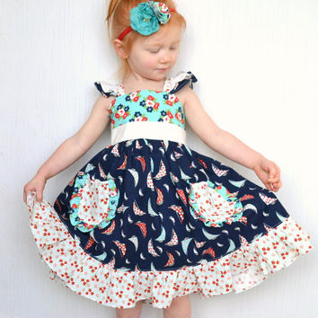 Toddler Twirl Dress, Nautical Dress, 3T Flutter Sleeve Ruffle Dress, Red, White, Navy Blue, Aqua Sailor Boutique Dress *Ready To Ship*