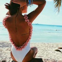 Sexy Classic Women Pure White Swimsuit Pink Flower Edge Vest Type Backless One Piece Bikini Swimwear Bathing