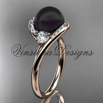 14kt rose gold diamond, pearl engagement ring VBP8166
