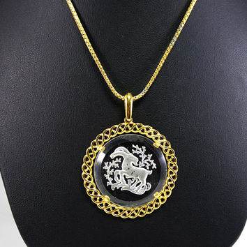 Aries Ram Intaglio Glass Pendant Signed Crown Trifari, Round Aries Zodiac Pendant and Chain Necklace, Vintage 1960s 1970s Birthday Gift