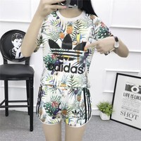 """Adidas"" Women Casual Multicolor Pineapple Toucan Print Short Sleeve Set Two-Piece Spo"