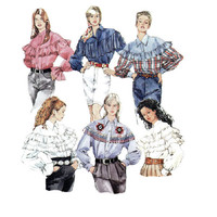 McCall's Sewing Pattern Country Western Square Dance Blouse Ruffle Shirt Old West Uncut Size 8 to 12 Bust 32 to 36