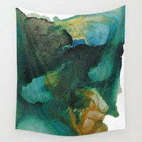 Green and Gold Wall Tapestry by duckyb