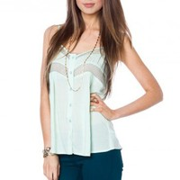 Marmont Lace Cami in Mint - ShopSosie.com