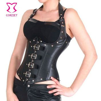 Halter Neck Sexy Black Faux Leather Corset Bustier Tops Corsetto Steampunk Corsets And Bustiers Gothique Punk Corselet Underbust