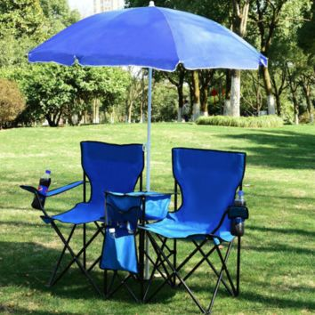 Portable Folding Double Chair Blue w/ Umbrella Table Cooler Beach Camping Picnics