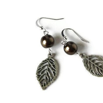 Dangle Earrings with Dark Brown Beads and Leaf Charm on Nickel Free Hooks. Simple Earrings.