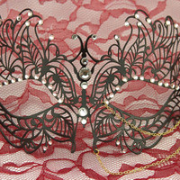 Butterfly with triple gold chains Metal Laser Cut Masquerade Mask w/ High Quality Rhinestones