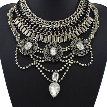 Neha Chain Link Silver Collar Statement Necklace with Crystal Pendant