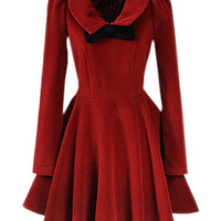 Dark Red Bowknot Pleats Woolen Dress [NCSKX0374] - $182.99 :