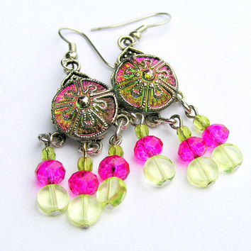Czech Glass Button Earrings,Watermelon Crystal Drops