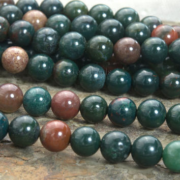bloodstone beads - natural bloodstone necklace  beads - Indian bloodstone jewelry gemstones - blood stone round beads - 6-10mm beads -15inch