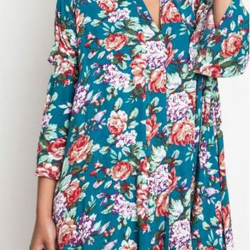 Umgee Jade Floral Dress Trapeze Swing Cut Boho Chic Bell Sleeve Tunic