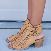 Tulip Fields Camel Strappy Peep Toe