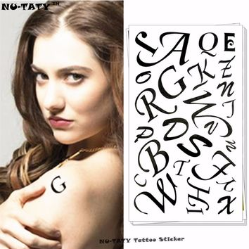 Nu-TATY Alphabet Letters Temporary Tattoo Body Art Arm Flash Tattoo Stickers 17*10cm Waterproof Fake Henna Painless Tattoo