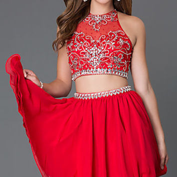 Short Homecoming Two Piece Dress 6060
