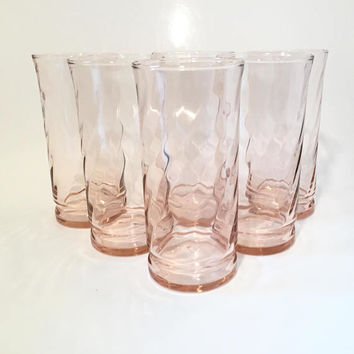 Pink Drinking Glasses, Set of 6 Pink Glass Tumblers, Pink Spiral Glasses, Vintage Iced Tea Glasses