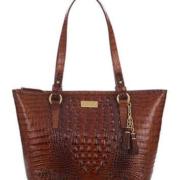 Brahmin Asher Croc Embossed Leather Tote Bag