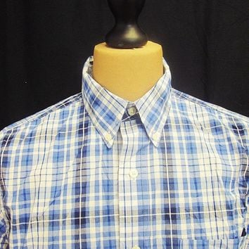 Retro Ralph Lauren Checked Blue Grey Short Sleeved Button Down Shirt M