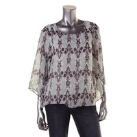 AGB Womens Chiffon Printed Pullover Top