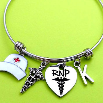 Personalized, Letter, Initial, Registered nurse practitioner, Heart, Bangle, RNP, Nurse, Medical, Caduceus, Bracelet, Graduation, Gift