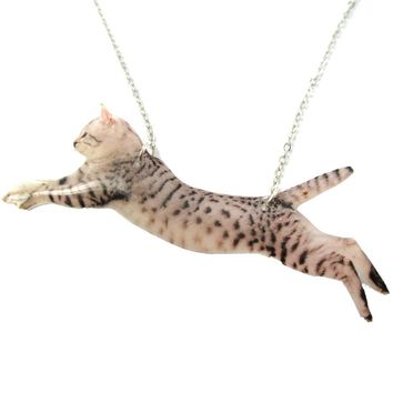 Grey Striped Kitty Cat Jumping in Mid Air Shaped Pendant Necklace   Handmade