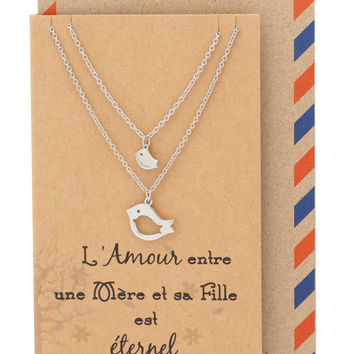 Adalene Mother Daughter Necklace, Gifts for Mom Bird Necklace Set for 2 with French Greeting Card