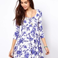 ASOS Smock Dress in Toile de Jouy Print