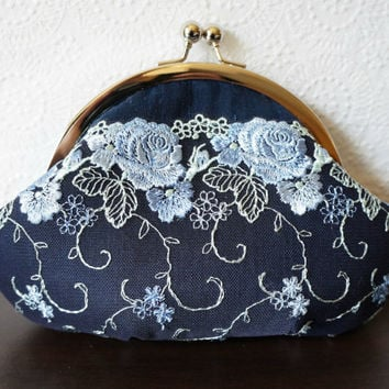 Navy blue clutch, small clutch purse wristlet, blue silk clutch with light blue lace overlay, personalized clutch,