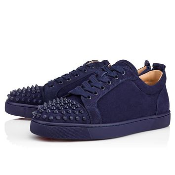 Christian Louboutin Cl Louis Junior Spikes Mens Flat China Blue/china Blue Mat Suede 18s Sneakers
