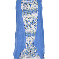 """Beautees Little Girls' """"Blue Roses"""" Dress with Cardigan (Sizes 4 – 6X)"""
