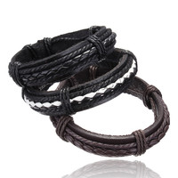 PU leather bracelets & bangles high quality cool leather bracelet men Casual Style fashion men's jewelry factory price