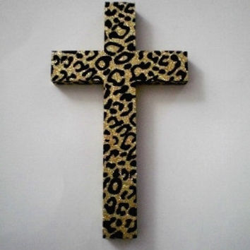 "GOLD & BLACK Animal Print Wall Cross - Sparkling Gold Glitter w/ Black Velvet Animal Print - 9.5"" x 5.5"""