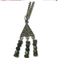 Bohemian Tribal Triangle Filigree Jasper Necklace - Proceeds Charity