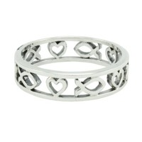 Christian Women's Sterling Silver 5mm Cutout Heart & Jesus Ichthus Fish Ring - Purity Ring for Girls