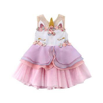 Unicorn Kids Baby Toddler Girls Formal Tutu Sleeveless Dress Party