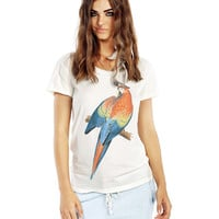 Parrot Print Short Sleeve Graphic Tee
