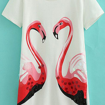 White Short Sleeve Sequined Swan Print Shirt Dress