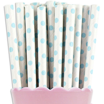 Light Blue Tiny Dot Paper Straws