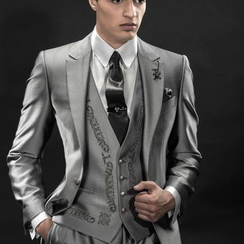 New Arrival One Button Grey Embroidery Groom Tuxedos Groomsmen Men's Wedding Prom Suits Custom Made (Jacket+Pants+Vest+Tie)K:423