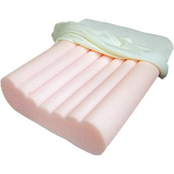 Radial Cut Memory Foam Pillow with Terrycloth Cover Off-White