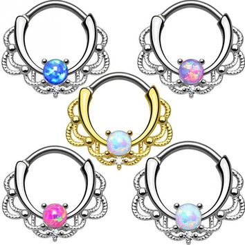 1pc Single Opal Stone Hinged Septum Clickers Titanium Shaft 10G Pierced Round Nose Rings Piercing Daith Rook Body Jewelry